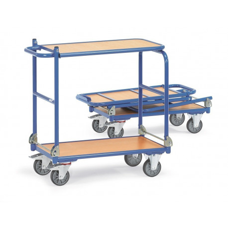Chariot pliable à 2 plateaux rabattables en mélaminé