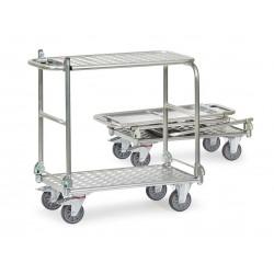 Chariot pliant en aluminium à 2 plateaux