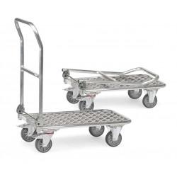 Chariot pliant à dossier en aluminium