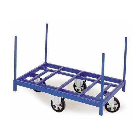 Chariot charges longues à 4 chandelles amovibles avec roues en losanges