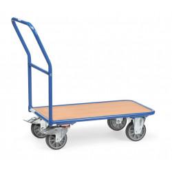 Chariot à dossier tubulaire et plateau bois