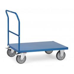 Chariot à dossier avec plateau en tôle d'acier