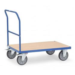Chariot à dossier de poussée tubulaire et plateau en bois
