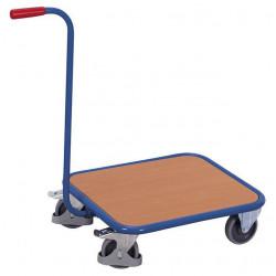 Chariot col de cygne à 1 plateau carré en bois