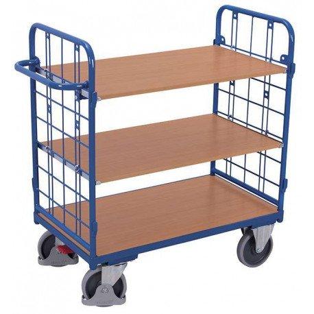 Chariot à 3 étagères bas et 2 ridelles
