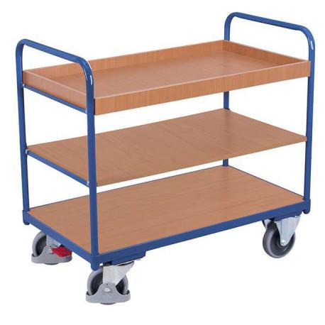 Chariot 3 étagères bas avec 1 bac et 2 plateaux