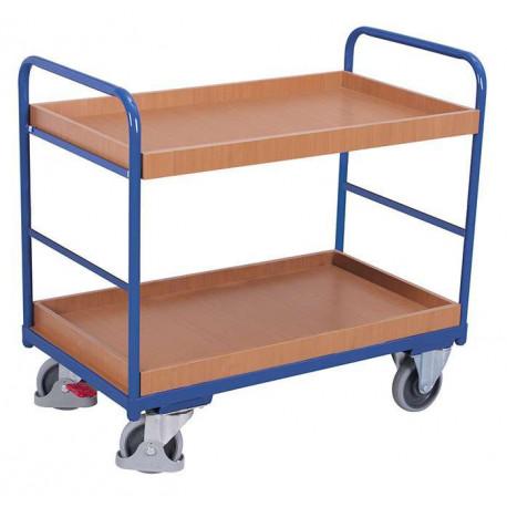 Chariot 2 étagères bas avec 2 bacs