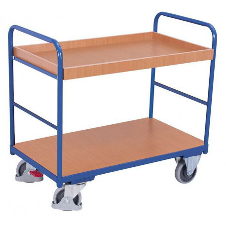 Chariot 2 étagères bas avec 1 bac et 1 plateau