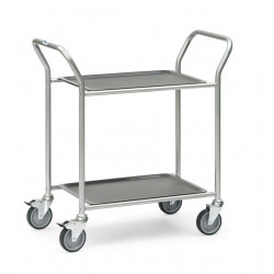 Chariot de service en aluminium à 2 plateaux