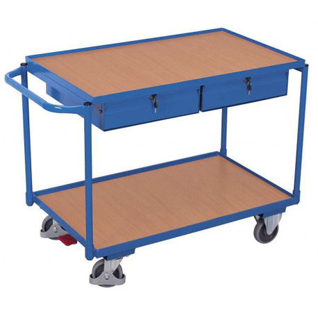 Servante d'atelier à 2 plateaux avec 2 tiroirs