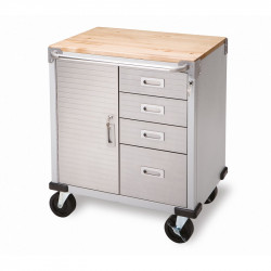 Servante vide d'atelier en Inox à 4 tiroirs et 1 compartiment
