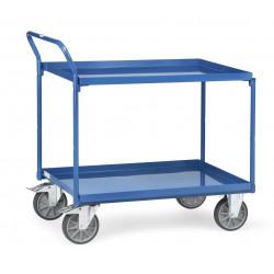Chariot à 2 plateaux tôlés avec rebord