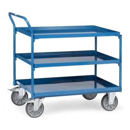 Chariot à 3 plateaux tôlés avec rebord