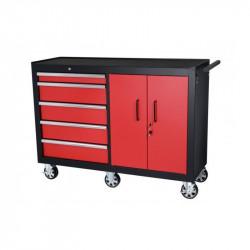 Servante d'atelier professionnelle à 5 tiroirs et 2 portes battantes