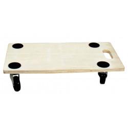 Plateau roulant rectangulaire en bois, charge 200 kg