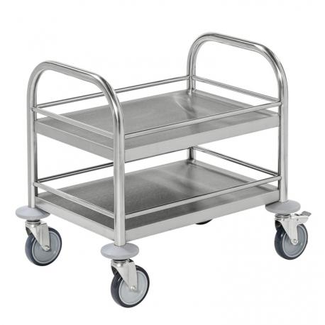 image cover Mini chariot à 2 plateaux en inox