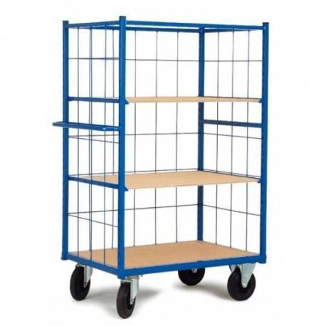 Chariot haut à 3 côtés mailles avec 2 étagères amovibles