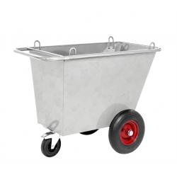 Benne à déchets avec 3 roulettes galvanisée