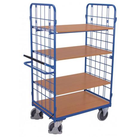 Chariot haut à 4 étagères avec système de blocage/déblocage