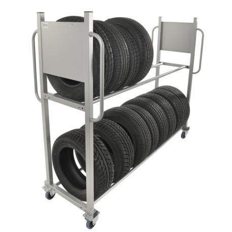 Chariot porte pneus à 2 étages, charge 300 kg