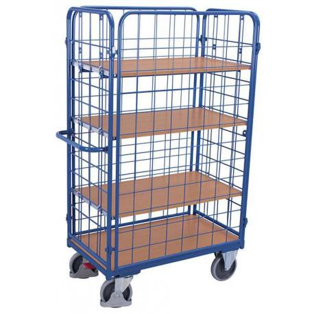 image cover Chariot haut fermé à 4 étagères et 4 ridelles