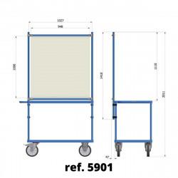Panneau de protection COVID-19 pour chariot à plateaux