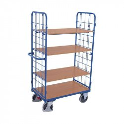 Chariot haut à 4 étagères et 2 parois