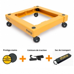 Kit de plateau roulant démontable avec ceinture de traction et protège-mains