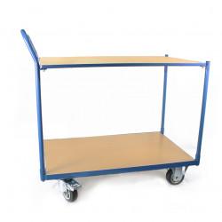 Chariot à 2 plateaux en mélaminé, charge 300 kg, plateau 1000x600 mm