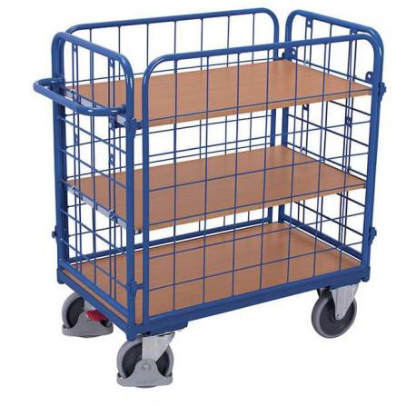 image cover Chariot fermé à 3 étagères bas et 4 ridelles