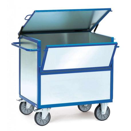 image cover Chariot caisse avec toit en tôle d'acier...
