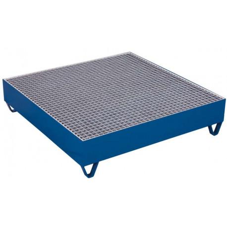 Bac de rétention carré avec caillebotis pour 4 fûts de 200 Litres